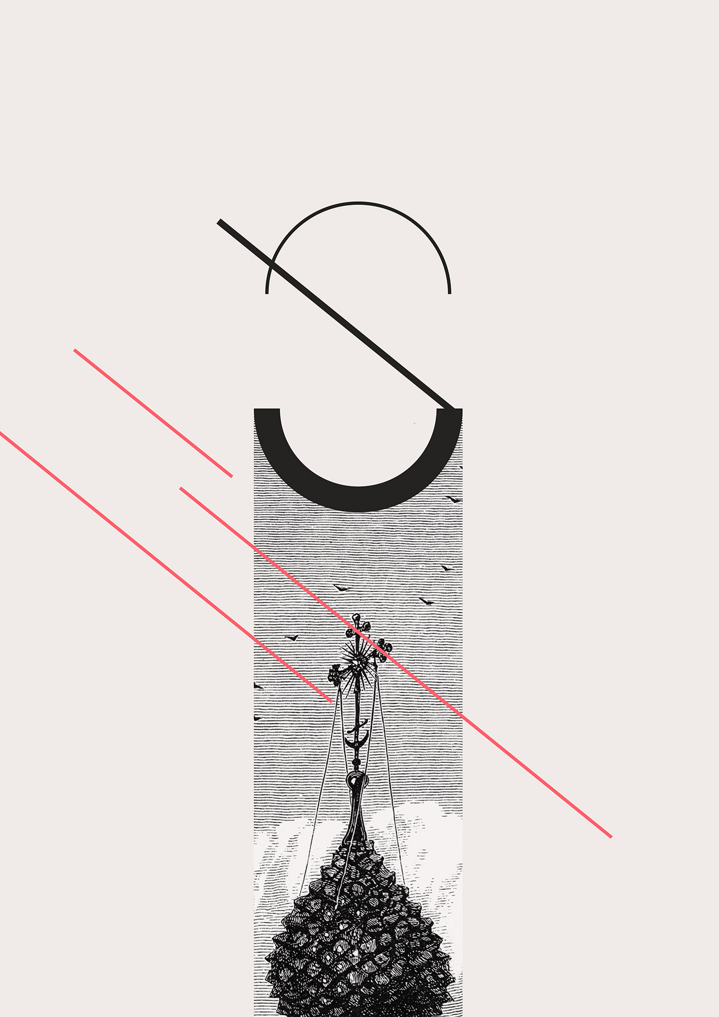 Typography mixed with graphic and old etching visuals.