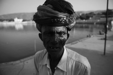 Black and White Photography with the title 'India 13'. Portrait of an Indian Man with a Turban