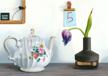 Still Life oil painting with the title 'Fünf'. Painted on canvas 60x80cm