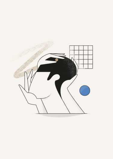 digital artwork with the title 'Face hands' by Amsterdam-based Illustrator Timo Kuilder, is about serenity and mental states