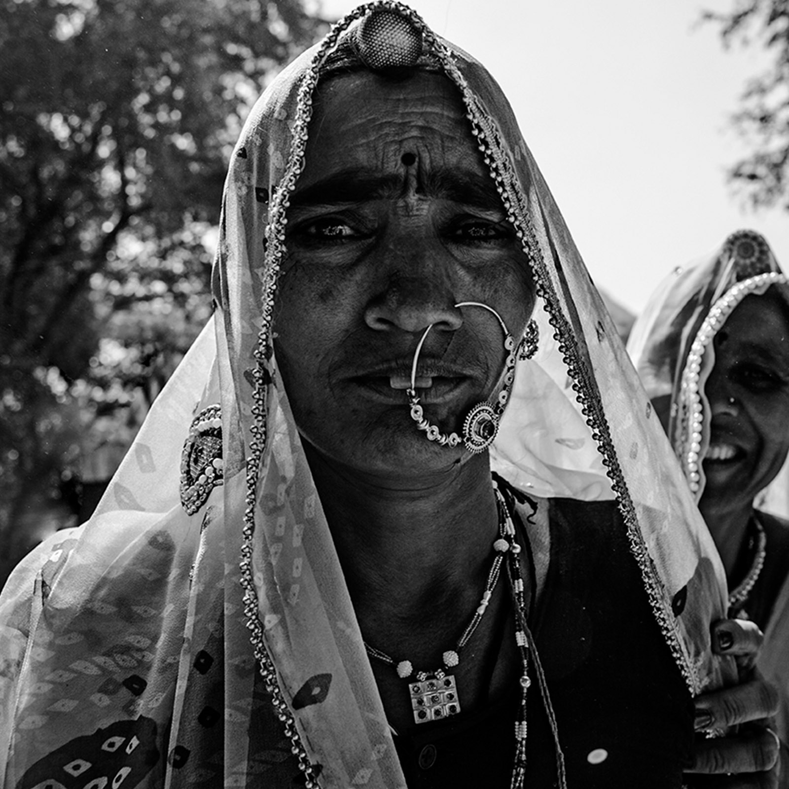 Black and White Portrait of an Indian Woman with a Nose Ring.