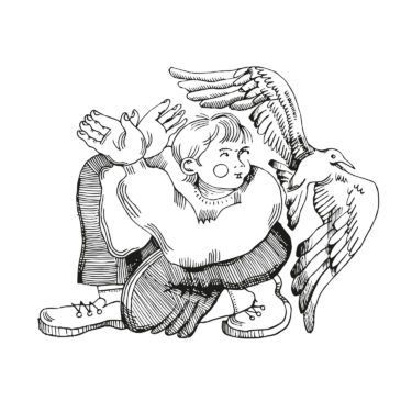 Digitally vectorized black and white illustration with the title 'Bird'. Depiction of a child playing with his hands to imitate a bird flying beside him