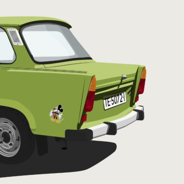 Cars and Stickers IV - Vector Illustration of a Trabant and Mickey Mouse on it
