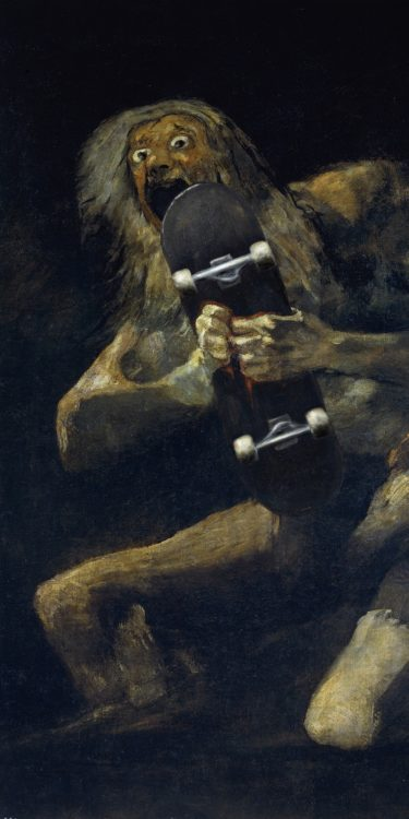 Saturn devouring his skate - painting by Gonzalo Sainz - freindmade.fm