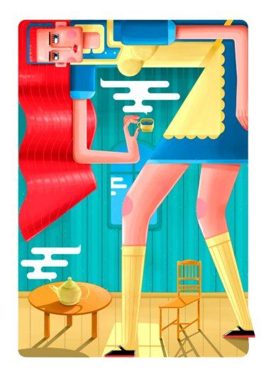 Alice. Colourful illustration by Ljubisa Djukic