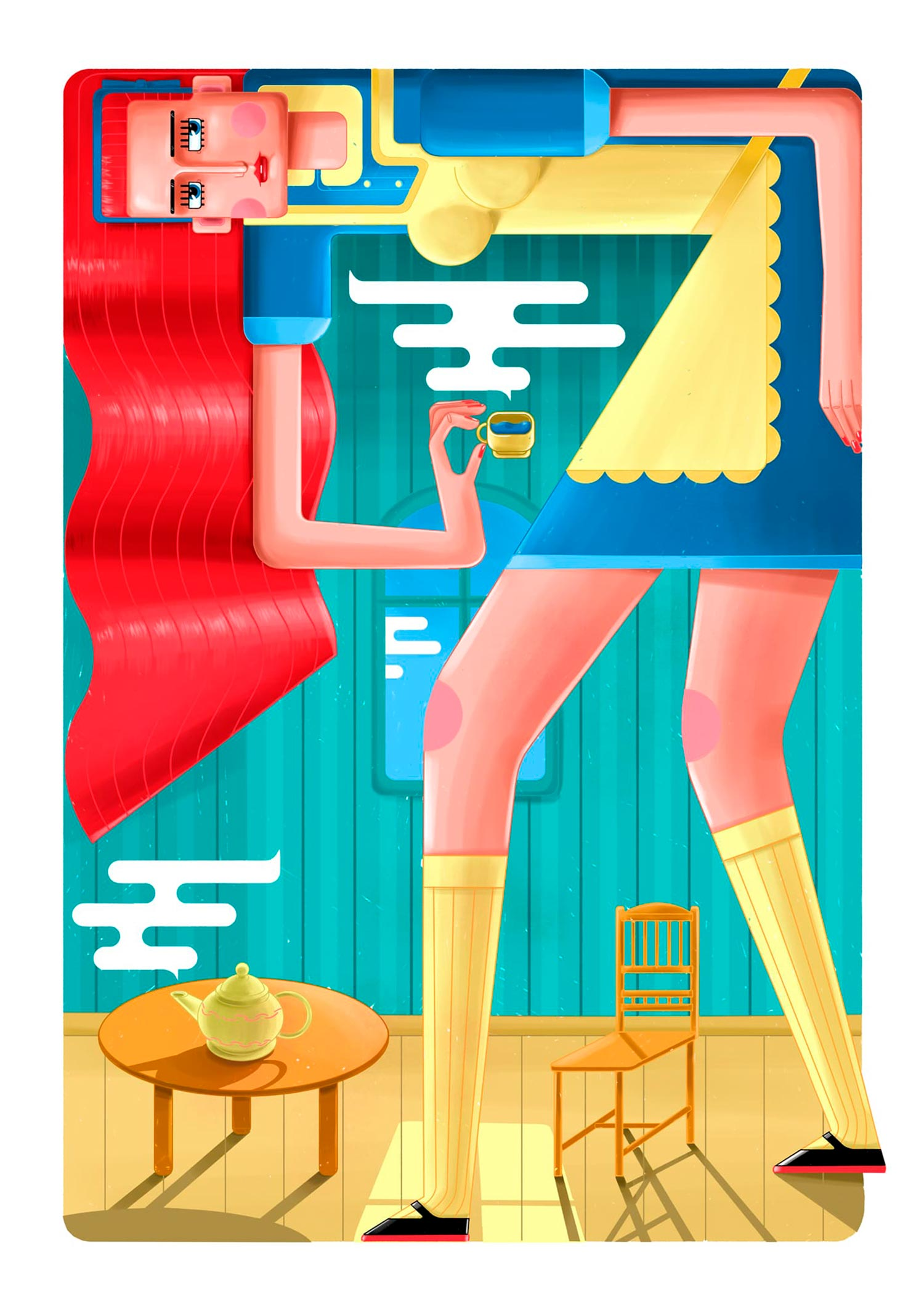 Alice - 'Tea with side effects' From a series of digital artworks with contemporary motives, inspired by icon paintings. Geometrically stylized illustration, colored using a reduced color palette.