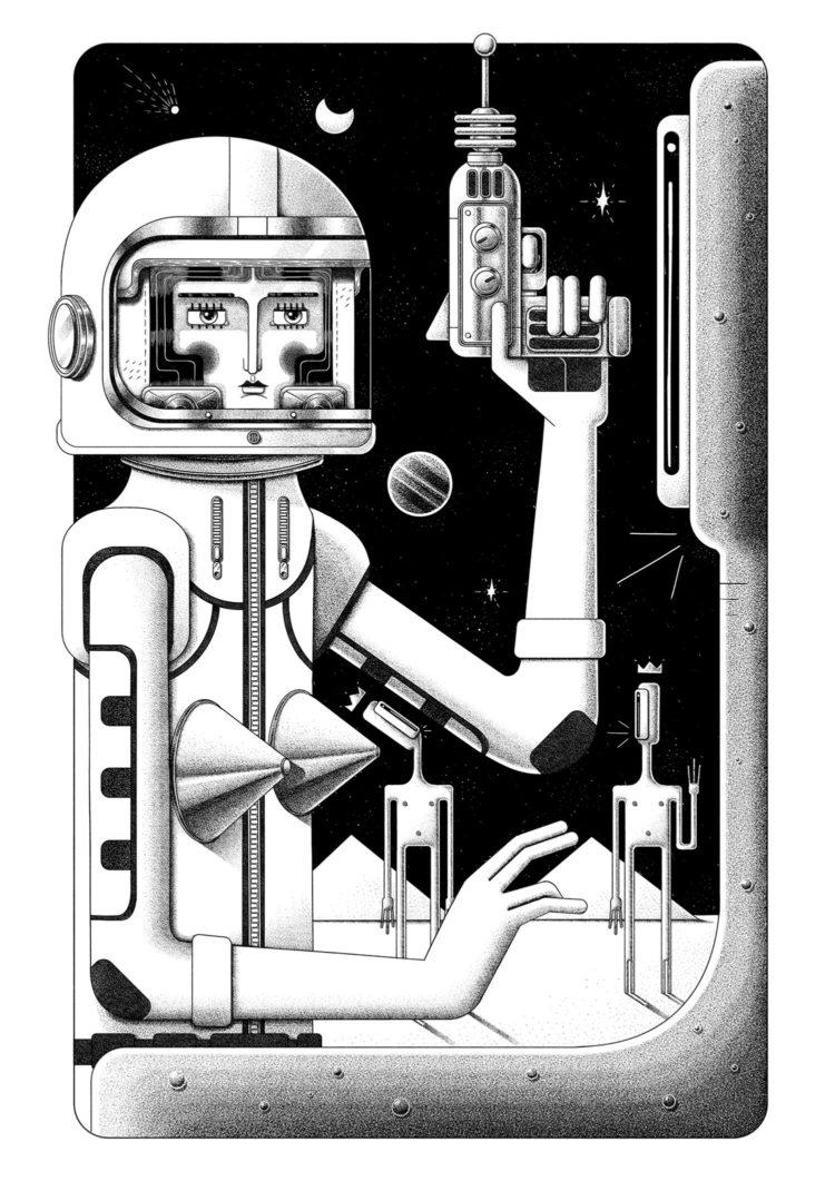 First Contact. Schwarz und weiß Illustration von Ljubisa Djukic