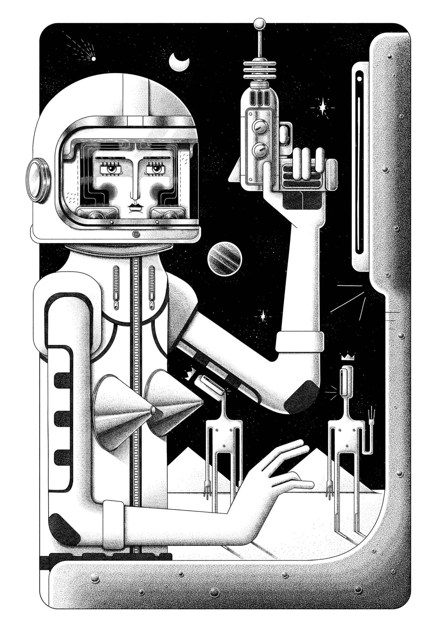 First Contact. Black and white illustration by Ljubisa Djukic