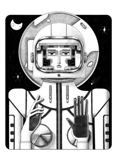 Holy Space. Black and white illustration by Ljubisa Djukic