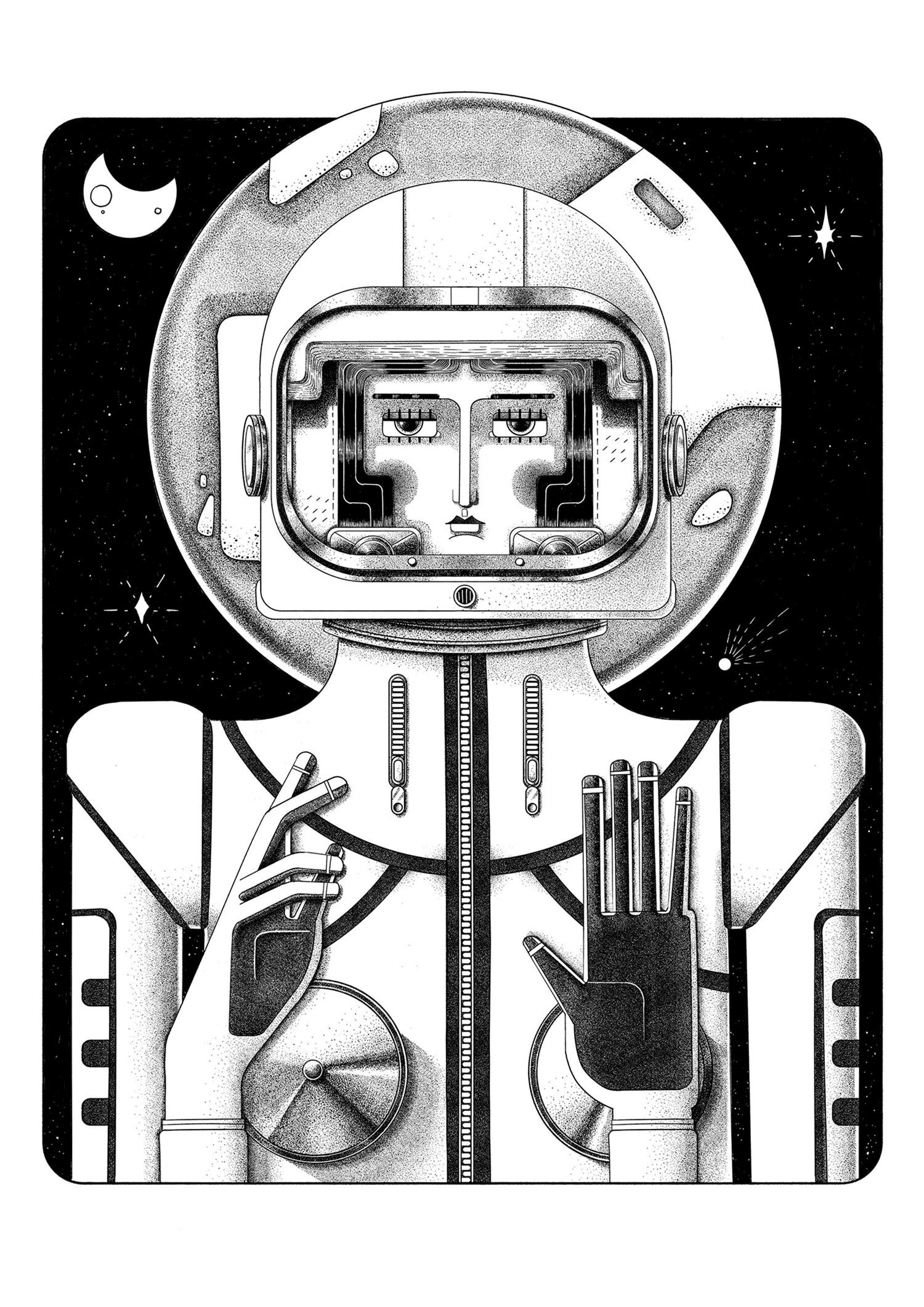 Holy Space. Black and white illustration by Ljubisa Djukic