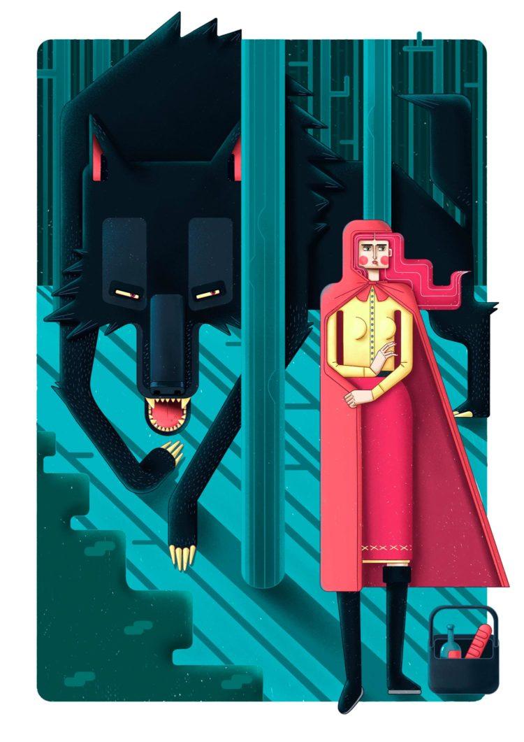 Red Riding Hood. farbige Illustration von Ljubisa Djukic