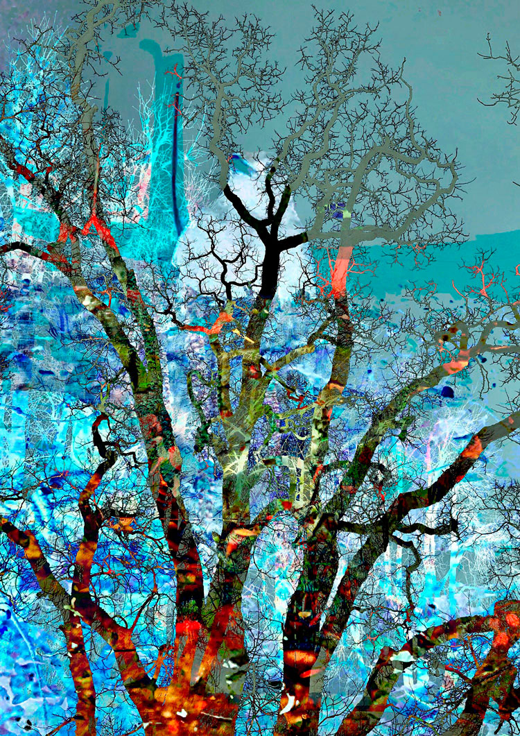 Digital artwork with the title 'Brain Tree' - creative photographic collage, combined with acryl paint