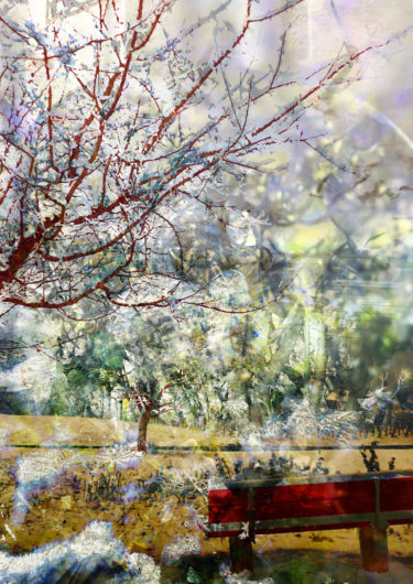 Digital artwork with the title 'The red bench'. A creative photographic collage, combined with acryl paint.