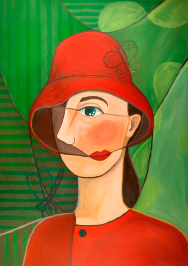Expressionistic painting of a lonely woman -
