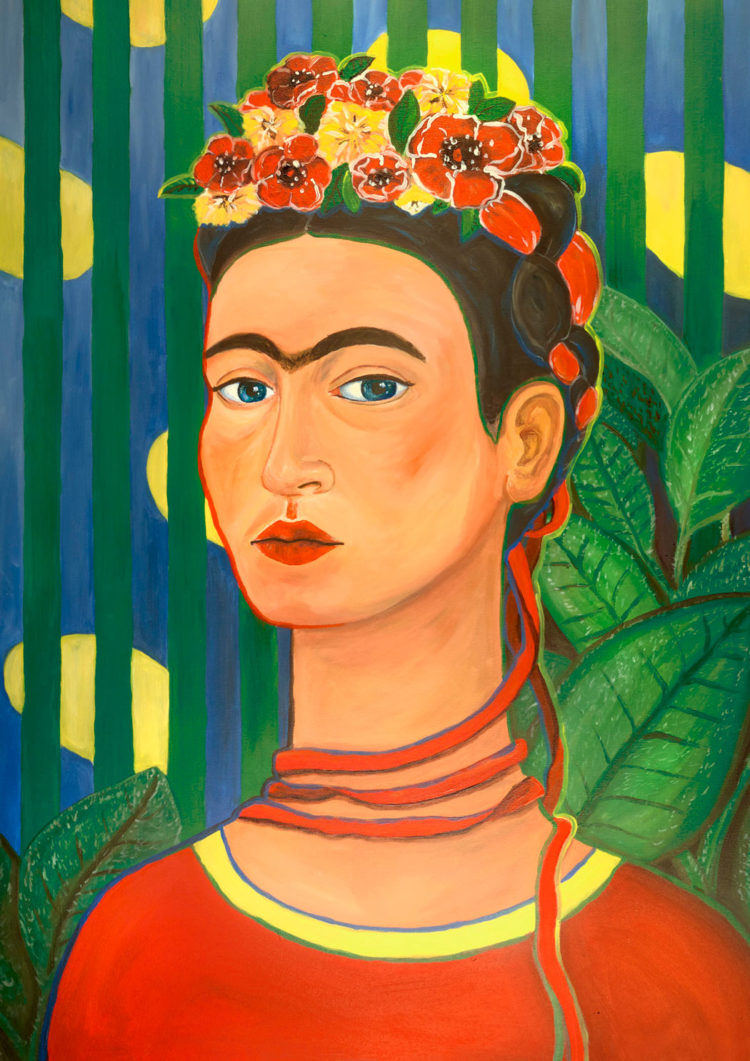 Expressionistic portrait of Frida Kahlo - drawn by Aga Hayat - friendmade.fm