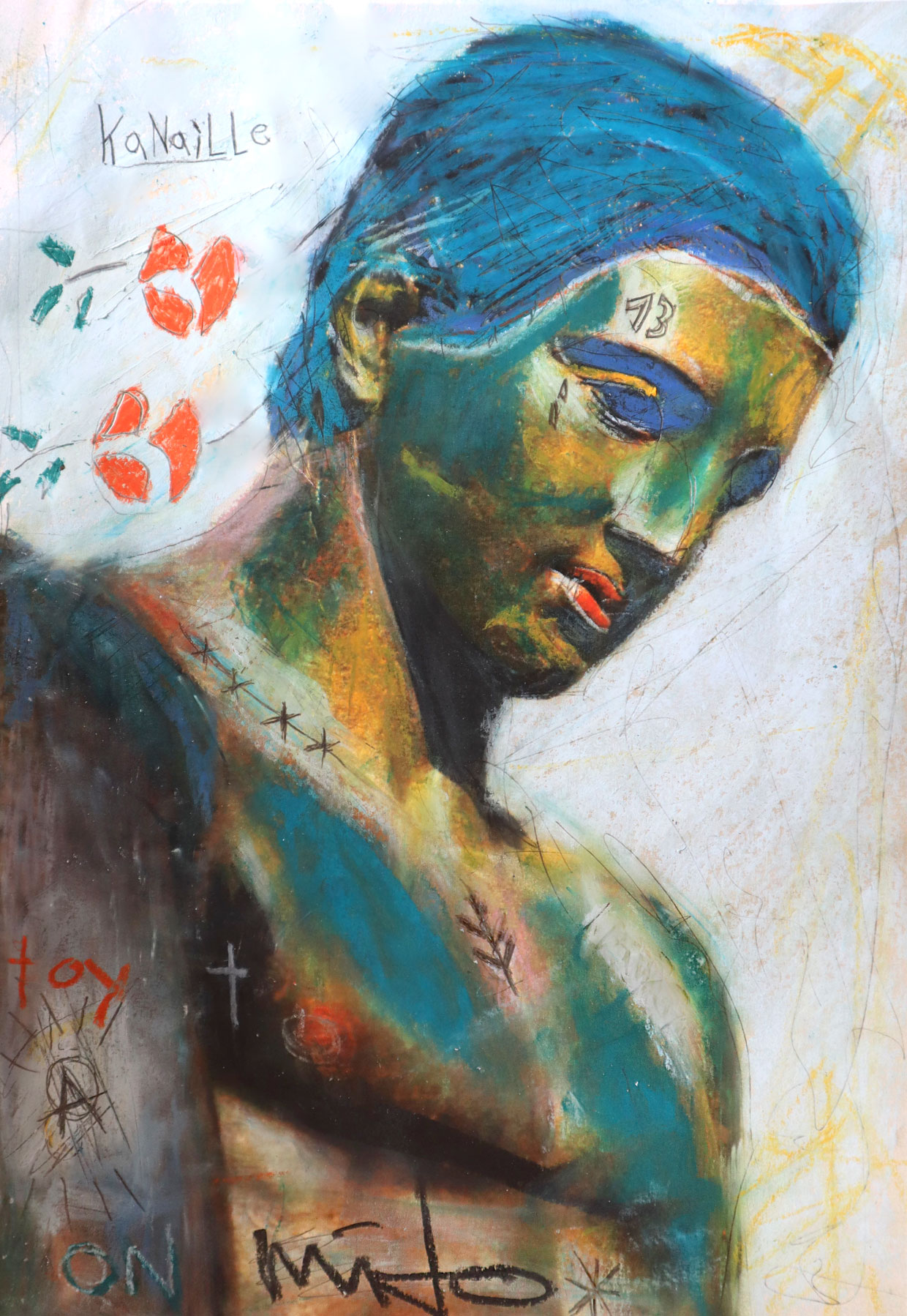 Classical portrait with the title 'Filho do sol' (Son of the sun). Painted with Chalk on paper.