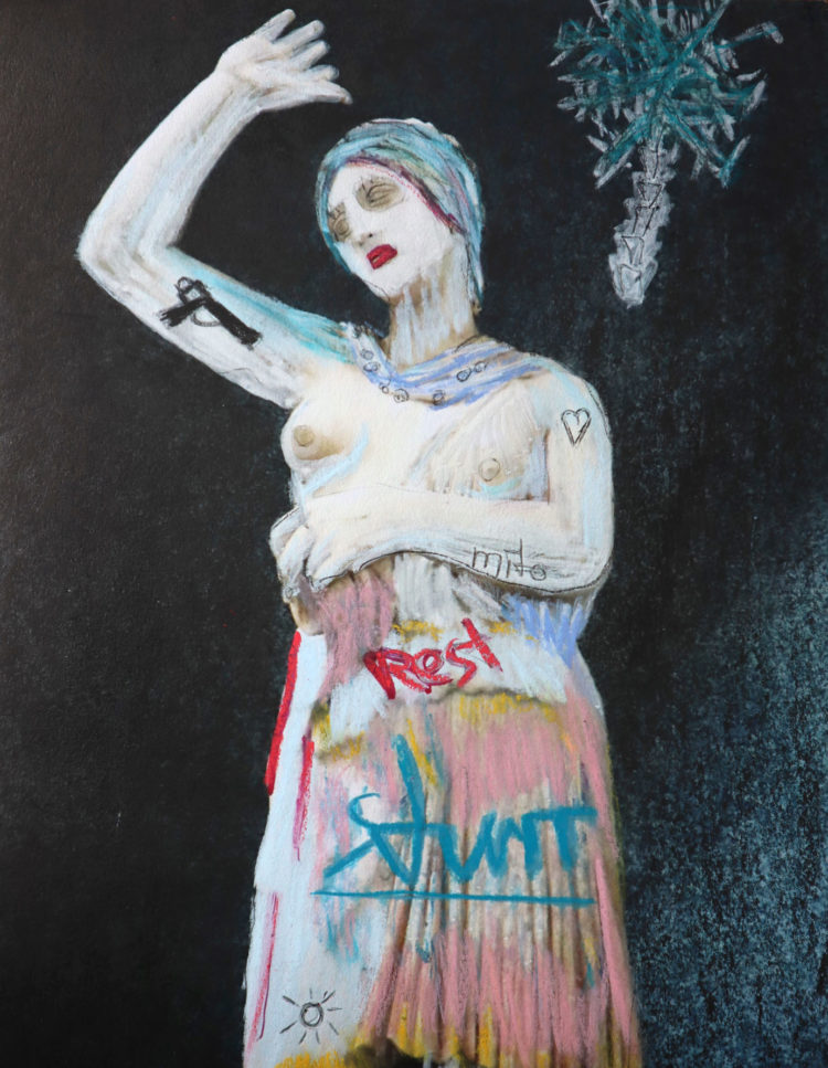 Chalk painted portrait of a woman with the title 'Marta'. Painted on paper.