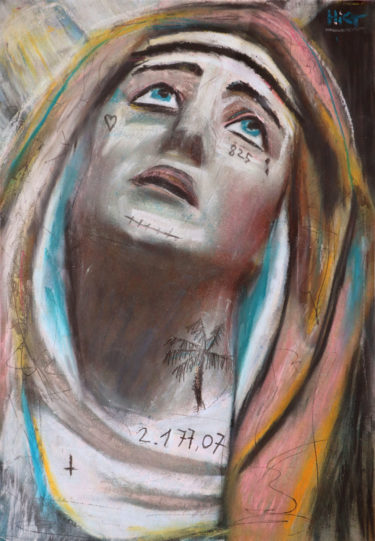 A religious portrait with the title 'Mother from another brother'. The artist Kevin Reismann painted this artwork on photokarton using chalk.
