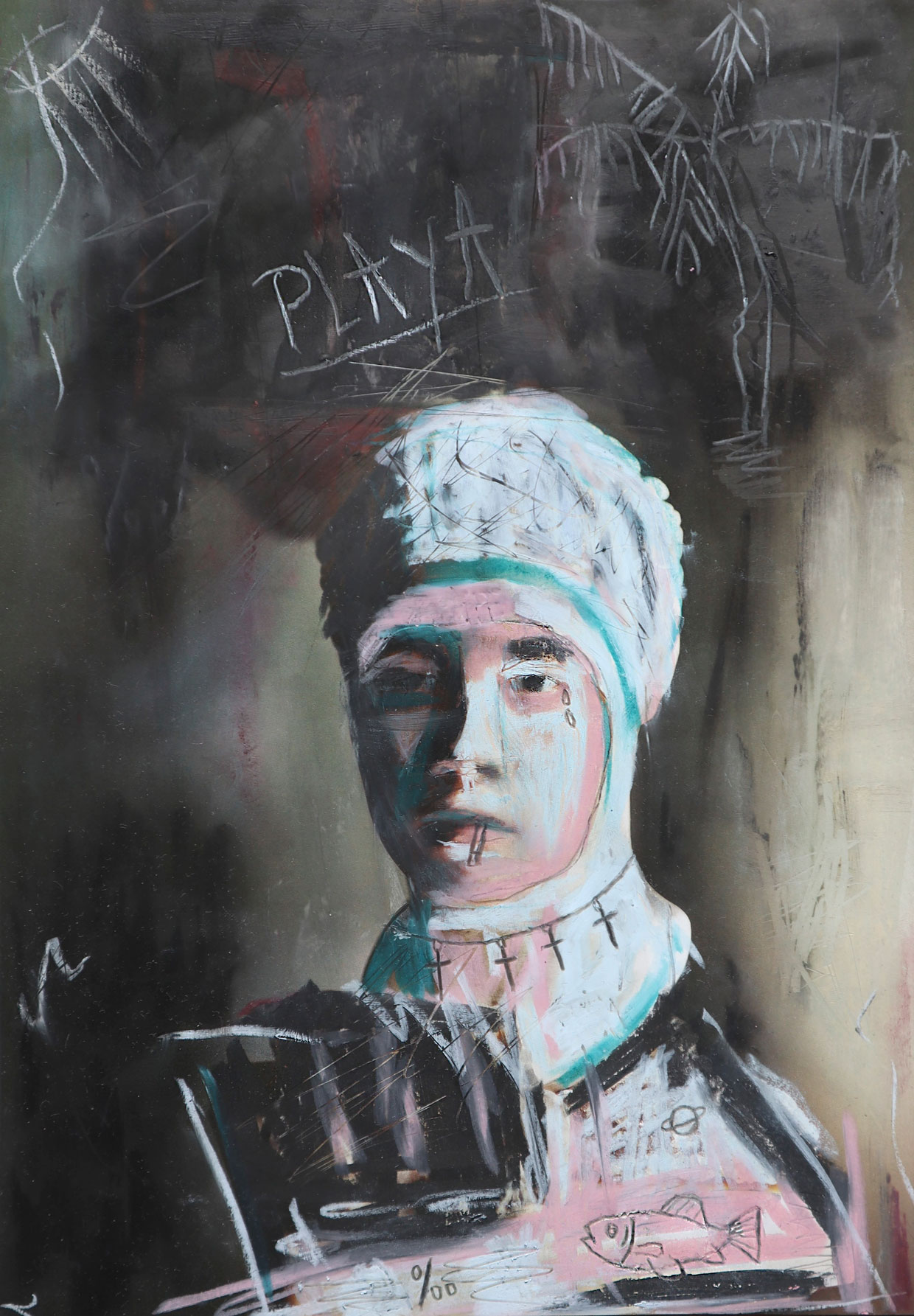 Chalk painted portrait of a woman with the title 'Nude Bust'.