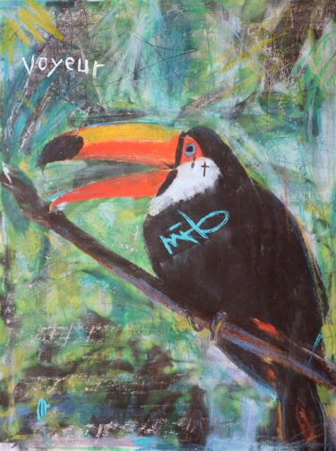 Portrait of a Toucan with the title 'Free as a bird'. The artist Kevin Reismann painted this artwork on photokarton, using chalk.