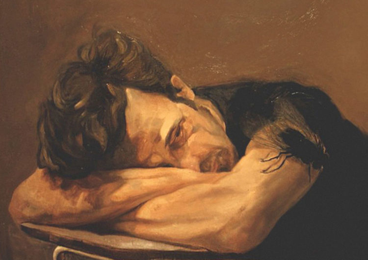 Tribulation - Painting of a man resting his head on his crossed arms on the table