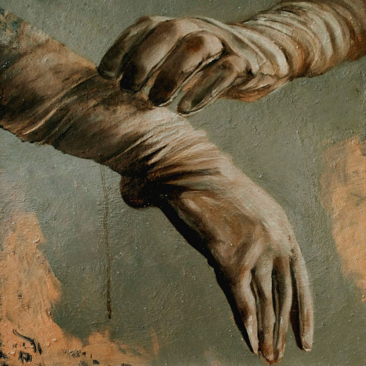 white gloves oil painting - by Burcin Pervin Arabaci