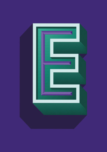 A three dimensional lettering artwork with the title 'e majesty'. A green 'E' with white and purple accents in front of a purple background.
