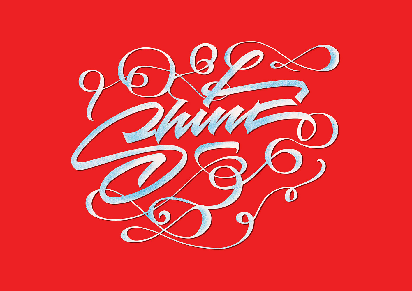 Lettering artwork with the title 'Shine'. Curved lines in white and light blue in front of a vibrant red background.