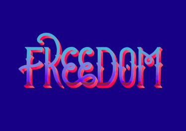 Lettering artwork with the title 'Freedom'. Curved lines and a color gradient in front of a blue background.
