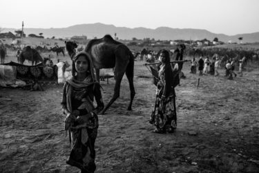 india 23 - black and white portrait of an indian girl and a woman in front of a camel - by Will Falize - friendmade.fm