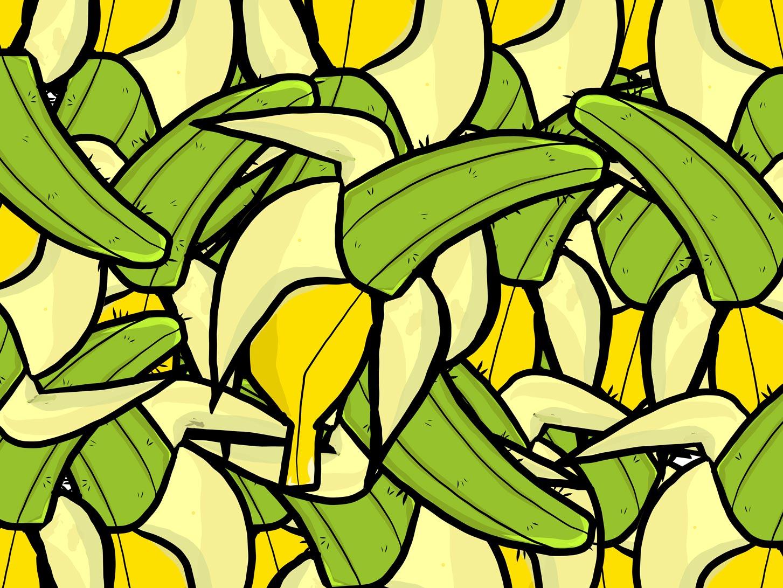 Green inside banana - Juna Lawrence - Brainoon - Friendmade.fm - digital artwork - food design in pop art style