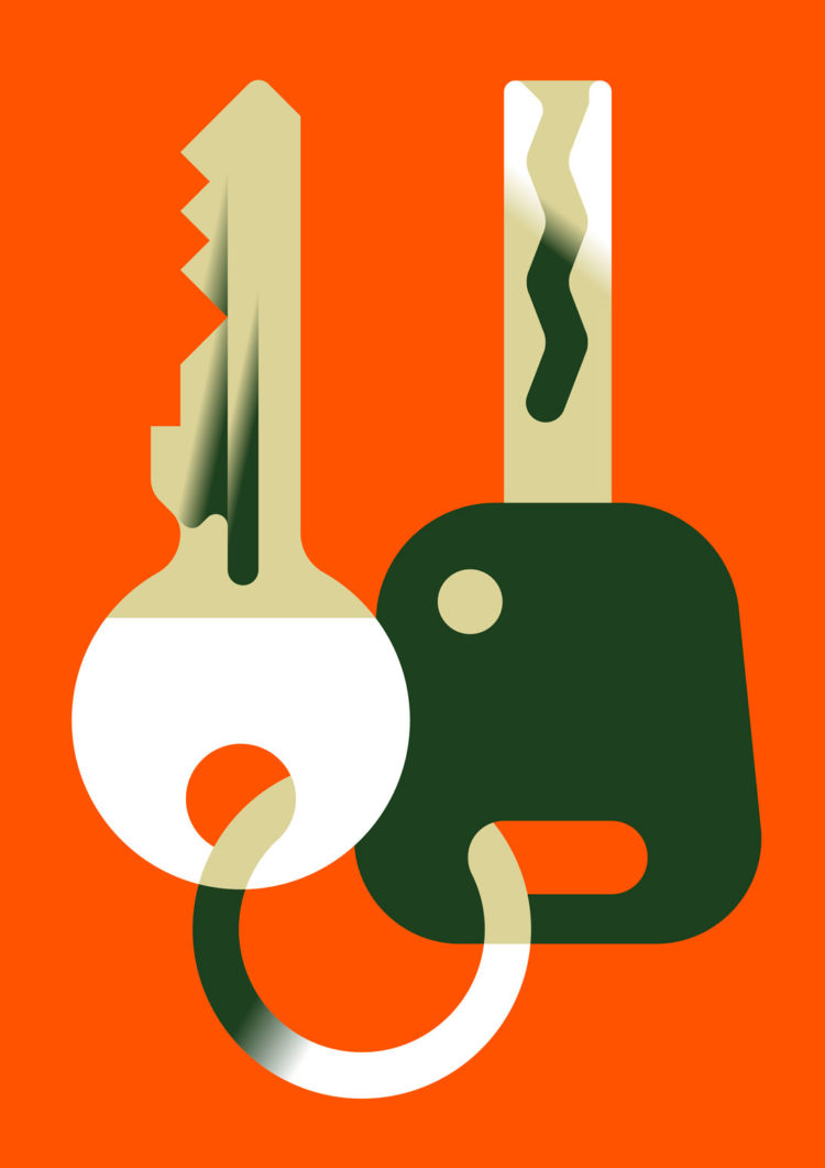 Vector illustration of two keys. Green tones in front of a vibrant orange background
