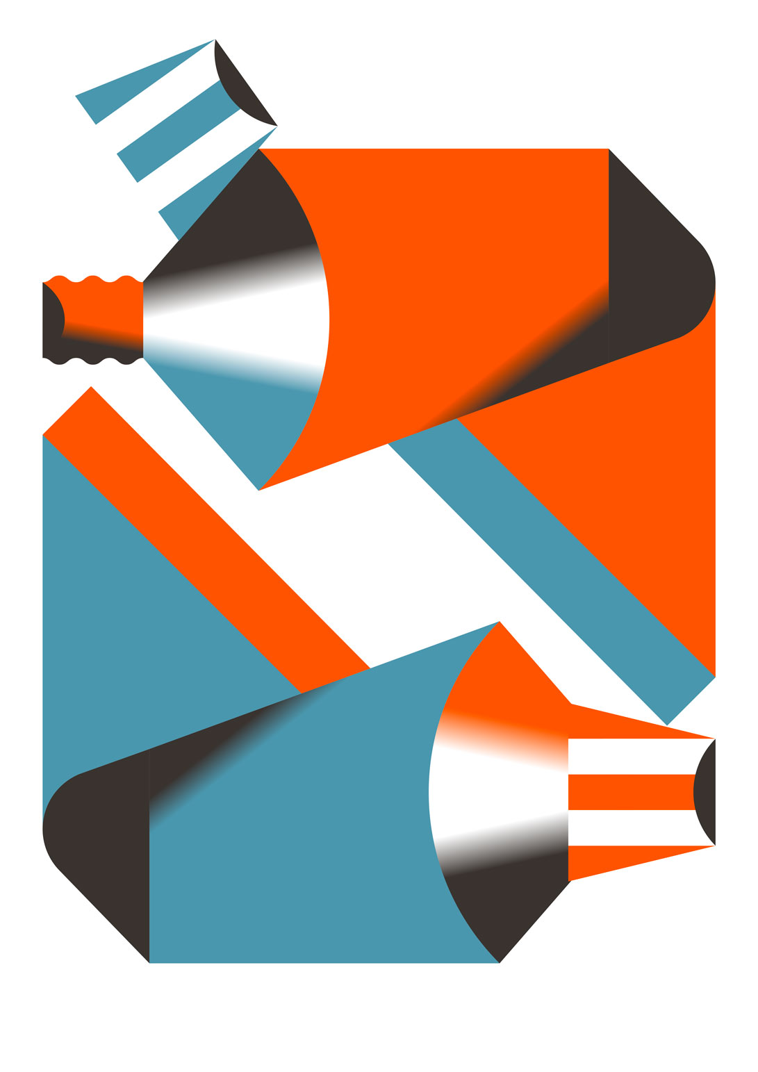 Digital vector illustration of two tubes in a vibrant orange and blue.