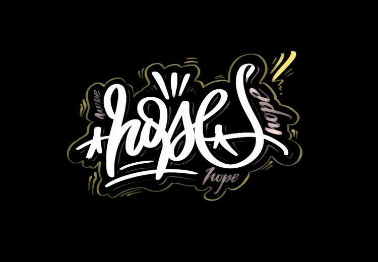 black and white lettering artwork with the title hope