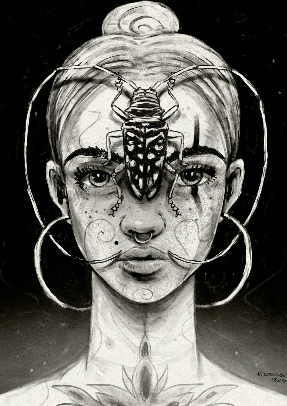 Digital artwork titled 'Beetle'. Portrait of a woman with a beetle with long feelers on her forehead - by Matthias Derenbach