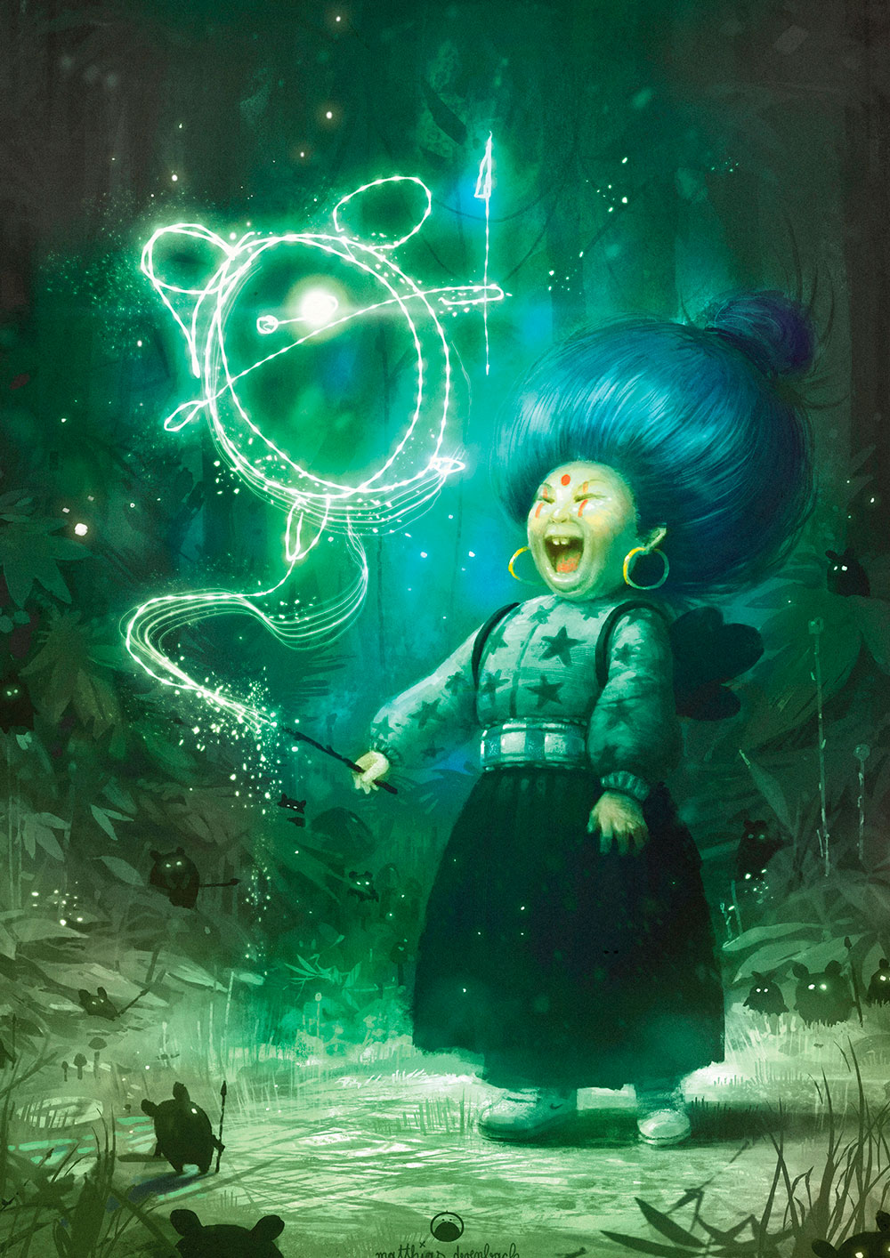Digital artwork titled 'Crazy Witch'. Drawing of a laughing witch, standing in the forest and tracing the little creature in front of her with her magic wand in the air. Green tones create a mystical mood - by Matthias Derenbach