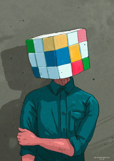 Digital Artwork titled 'Cubehead'. Illustration of a man with a rubik's cube instead of a human head - by Matthias Derenbach