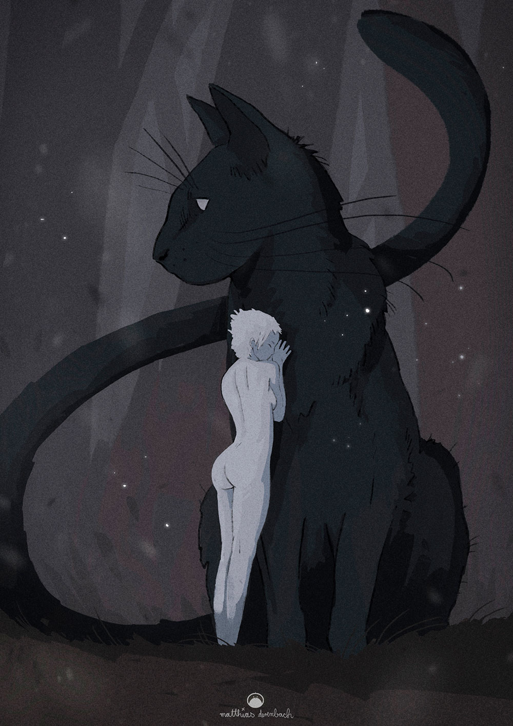 Digital artwork titled 'Pussy Cat'. Illustration of a naked woman in shades of gray, standing in front of a big black cat and hugging it. The surreal proportions create an interesting visual effect - by Matthias Derenbach